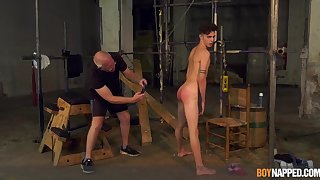 Twink endures massive cock from grandpa down gay BDSM