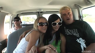 Car threesome with Ashli Orion and Amy Brooke sharing a cock