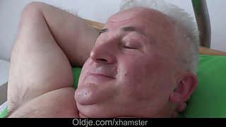 Busty young nurse fucking sick old man for cock health