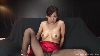 Japanese brunette solo babe Mizukawa Kazuha oils up and masturbates