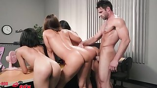 Sex at the office with Amia Miley, Holly Hendrix and Isis Love