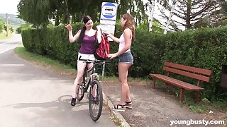 Outdoor lesbian pussy toy play with Lexi Rain and Daphne