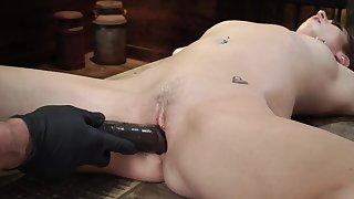 Starkers slavegirl is fingered and dildo fucked