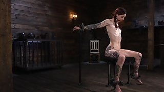 Skinny alt redhead becomingly dominated by a mysterious authority