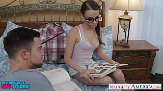 Sister's nerdy friend Kacy Lane turned out helter-skelter be a in agreement cock sucker