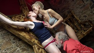 Matures get aggravation fucked by an old man in a crazy trio