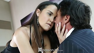 Old eleemosynary man fucks pretty young mistress Dillion Harper and ejaculates in her mouth
